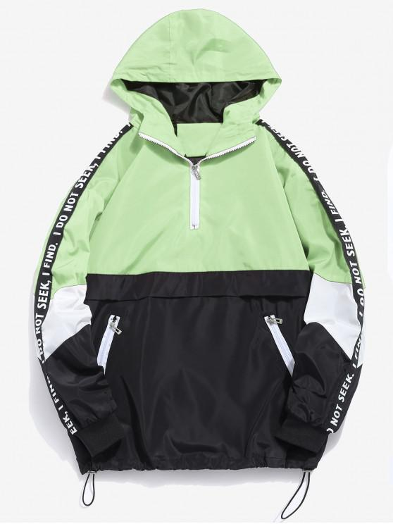 sale Contrast Half Zip Graphic Striped Hoodie - TEA GREEN XL