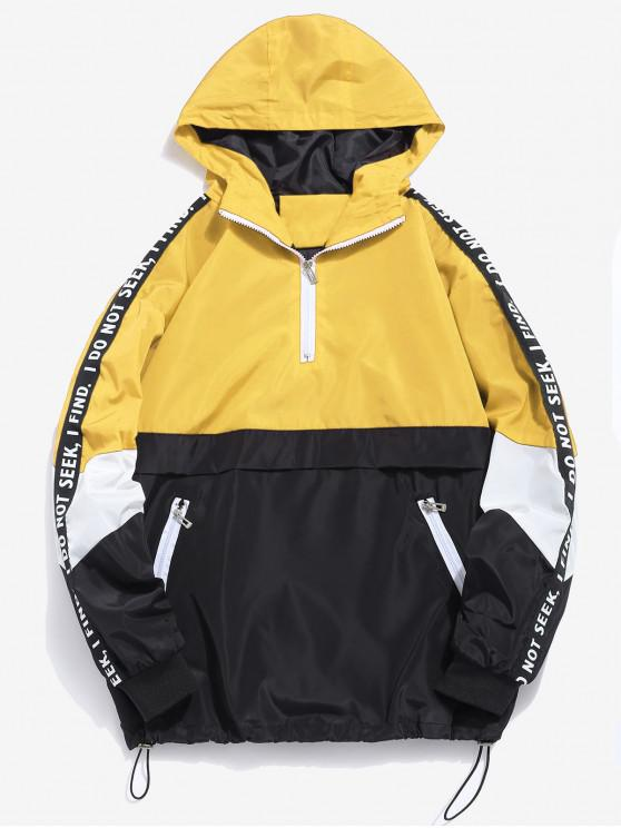 fashion Contrast Half Zip Graphic Striped Hoodie - YELLOW XL