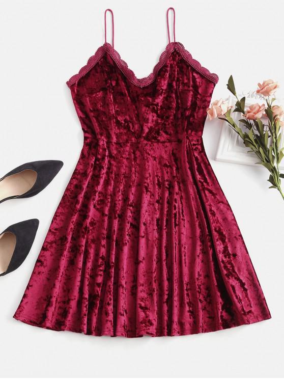 lady ZAFUL Crochet Panel Scalloped Velvet Dress - RED WINE S