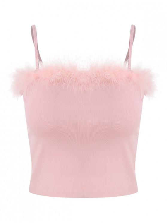 women's Feather Trim Crop Cami Top - PINK L