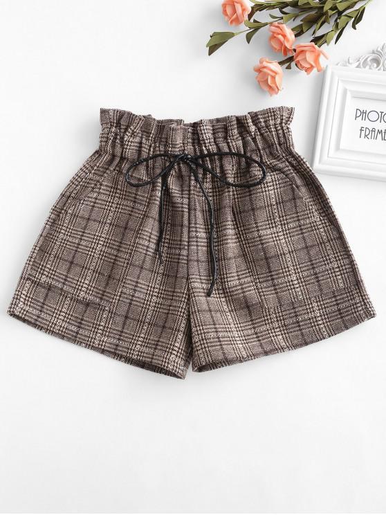 lady Elastic Waist Plaid Shorts - KHAKI XL