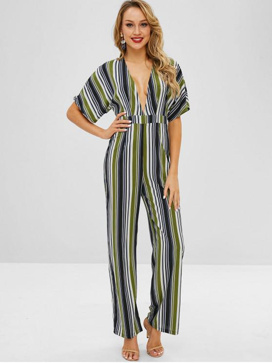 chic ZAFUL Back Zipper Stripes Wide Leg Jumpsuit - MULTI S