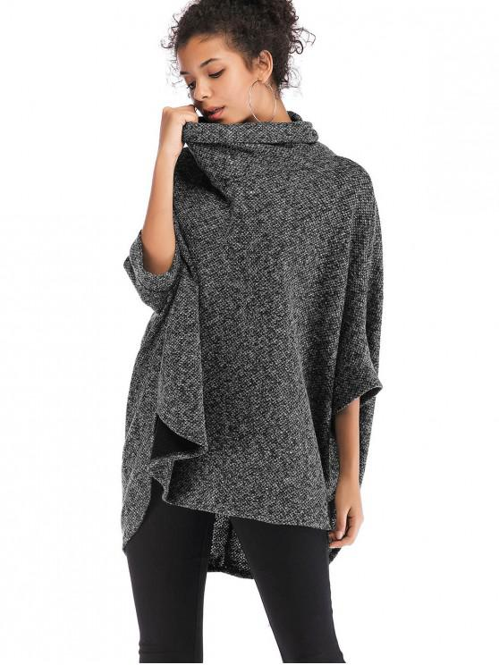 trendy Cowl Neck Oversized Poncho Sweater - GRAY ONE SIZE