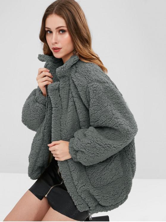 latest Slip Pockets Faux Fur Teddy Coat - GRAY M