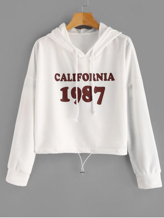 women Drawstring Letter Figure Graphic Hoodie - MILK WHITE ONE SIZE