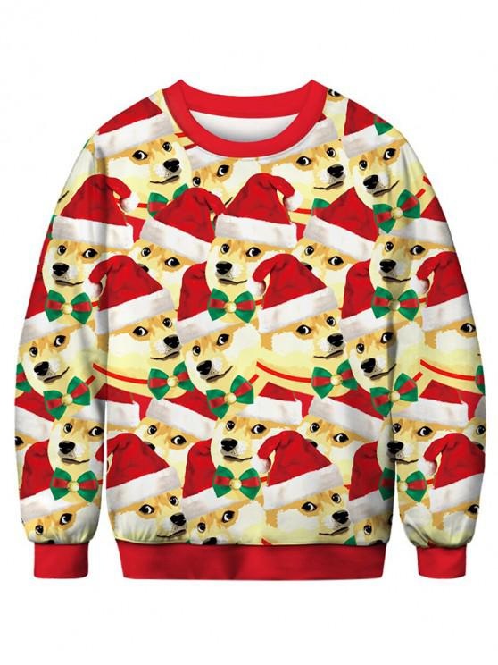 outfits Dog with Christmas Hat Printed Pullover Sweatshirt - MULTI L