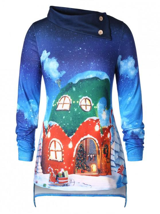 Plus Size 3D Print Christmas T-shirt - Albastru L