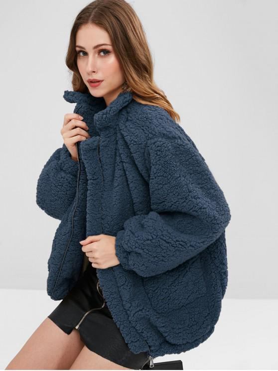 womens Slip Pockets Faux Fur Teddy Coat - MIDNIGHT BLUE L