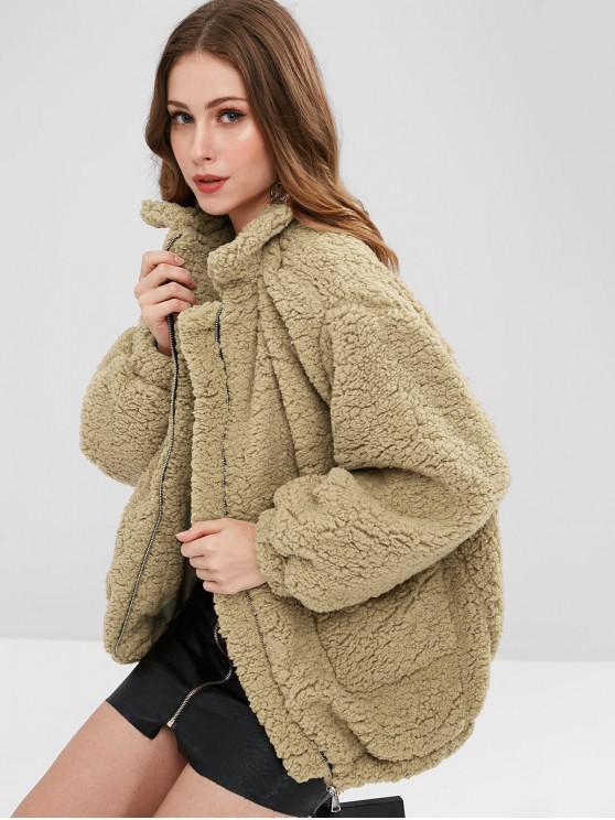 women's Slip Pockets Faux Fur Teddy Coat - TAN BROWN S