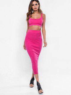 Crop Tank Top And Sheath Skirt Set - Rose Red M