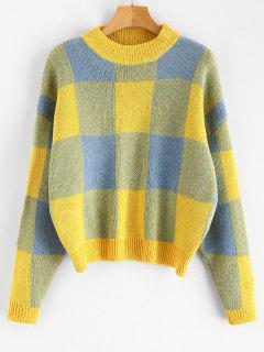 Plaid Jacquard Knit Sweater - Blue