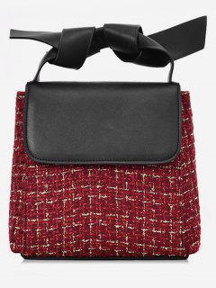 Color Block Plaid Design Tote Bag - Red Wine