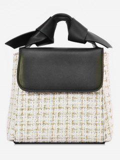 Color Block Plaid Design Tote Bag - White
