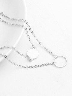 Layered Design Circle Shape Pendant Necklace - Silver