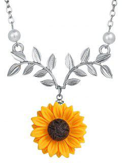 Sunflower And Branch Pattern Clavicle Necklace - Silver