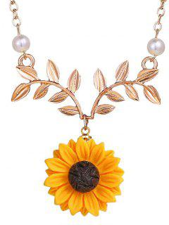 Collier Clavicule Motif De Tournesol Et De Branche - Or De Rose