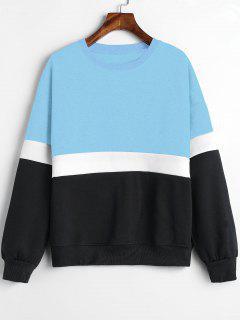 Paneled Color Block Fleece Sweatshirt - Light Sky Blue L