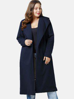 Manteau Long Ouvert De Grande Taille à Col Relevé - Bleu Foncé 4x