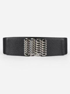 Infinity Alloy Buckle PU Leather Elastic Belt - Black
