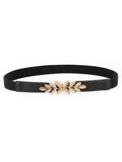 Alloy Leaf Buckle Elastic Dress Belt - Black