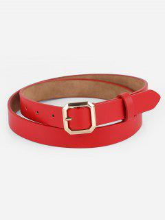 Geometry Buckle Artificial Leather Belt - Red