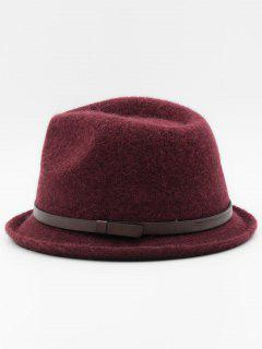 Ribbon Solid Color Jazz Hat - Red Wine
