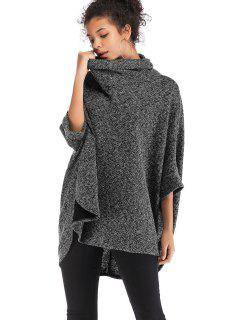 Cowl Neck Oversized Poncho Sweater - Gray