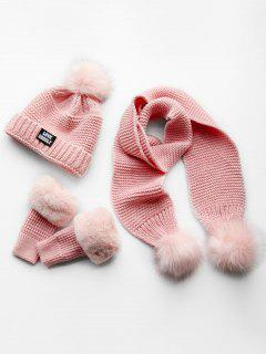 Winter Fuzzy Ball Knitted Beanie Scarf And Gloves Set - Pink
