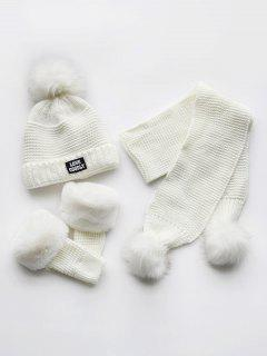 Winter Fuzzy Ball Knitted Beanie Scarf And Gloves Set - White