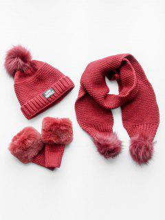 Winter Fuzzy Ball Knitted Beanie Scarf And Gloves Set - Red
