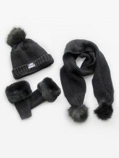 Winter Fuzzy Ball Knitted Beanie Scarf And Gloves Set - Black