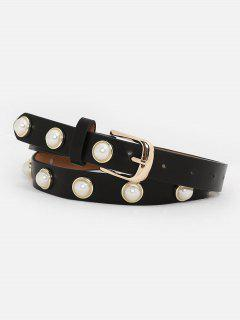 Metal Buckle Faux Pearl Skinny Belt - Black