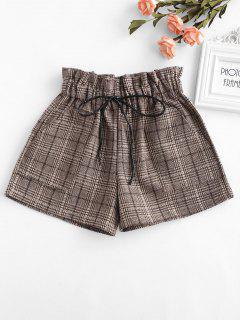 Elastic Waist Plaid Shorts - Khaki M