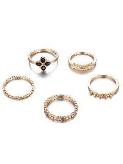 6Pcs Rhinestoned Fine Circle Shape Rings Set - Gold