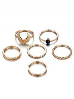 6Pcs Rhinestoned Vintage Design Metal Rings Set - Gold