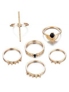 6Pcs Vintage Design Rhinestoned Rings Set - Gold