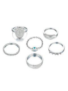 6Pcs Ethnic Style Alloy Rings Set - Silver