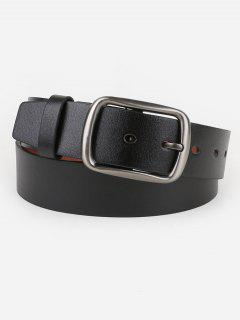 Pin Buckle Faux Leather Business Belt - Black