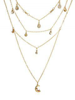 Layered Water Drop Pattern Rhinestoned Necklace - Gold