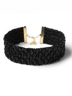 Paillette Wide Design Metal Choker Necklace - Black
