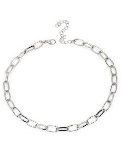 Alloy Lock Chain Design Necklace - Silver