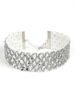 Paillette Wide Design Metal Choker Necklace - Silver
