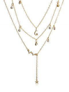 Multilayer Rhinestoned Moon And Star Drop Necklace - Gold