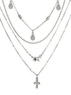 Layered Flower Pattern Rhinestone Necklace - Silver
