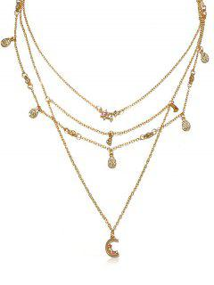 Statement Multilayer Rhinestoned Moon Drop Necklace - Gold