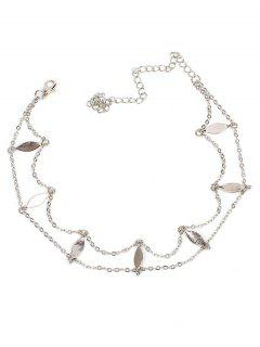 Multi-layer Sequins Leaves Design Necklace - Silver