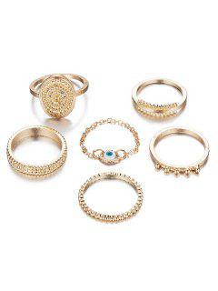6Pcs Ethnic Style Alloy Rings Set - Gold