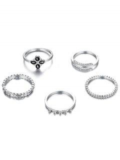 6Pcs Rhinestoned Fine Circle Shape Rings Set - Silver