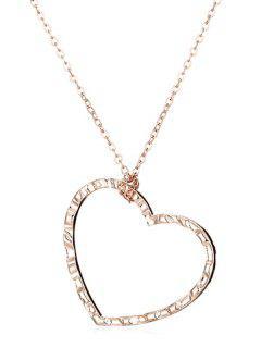 Single Hear Pattern Pendant Necklace - Gold