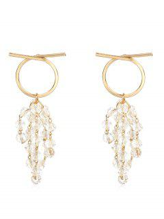 Beaded Artificial Crystal Drop Earrings - Gold
